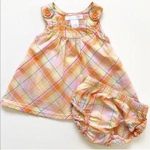 H&M 2-4 mo Orange Plaid Tunic Dress w/ Bloomers